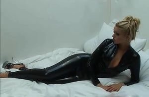 Black Wetlook Catsuit Faux Leather Long Sleeve  Open Crtch with Zipper  Lingerie Latex Costumes