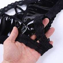 Load image into Gallery viewer, Wetlook Panties for Women Femme Lingerie Patent Leather Lace Open Crtch V-Back Mini Briefs