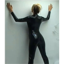 Load image into Gallery viewer, Black Wetlook Catsuit Faux Leather Long Sleeve  Open Crtch with Zipper  Lingerie Latex Costumes