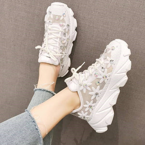 ADORRNA Women's Lace-up Sneaker Flower Ladies Shoes Sneakers 2020