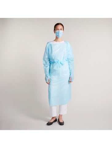 Disposable Apron Gown, Level 1,Open Back, Blue, Case of 100 - MDSupply.Store