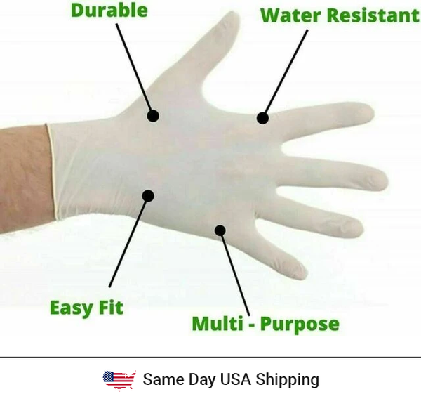 Disposable Latex Hand Gloves - 100PK - Same Day USA Shipping - MDSupply.Store