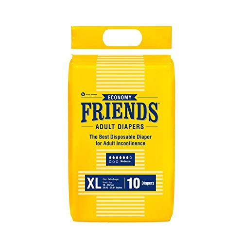 Friends Adult Diapers (Extra Large) White Anti-Bacterial Absorbent Core, 10s PACK