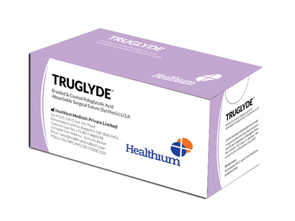 Truglyde (Regular and Fast) Surgical Polyglycolic Acid Sutures (SN) - (Pack of 12)