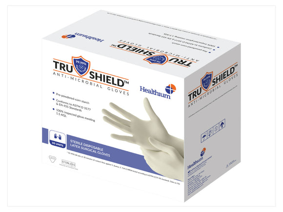 Trushield™ Anti- Microbial (Sterile Disposable Latex Surgical) Gloves - (Pack of 50)