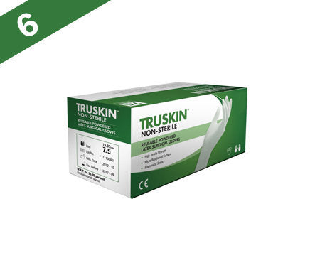 Truskin Non Sterile Powdered Latex Surgical Gloves (Pack of 50)