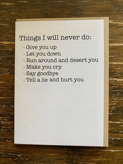 Card- Things I Will Never Do