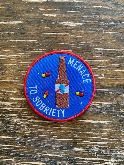 Patch Iron On- Menace To Sobriety