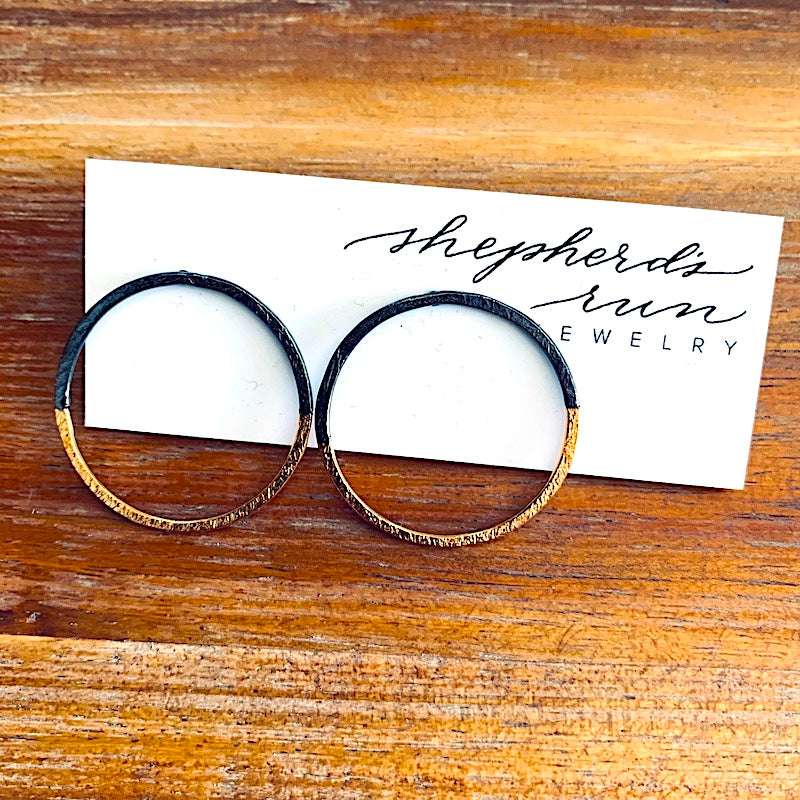 Half and Half Halo Earrings - Sterling Silver & Gold Overlay