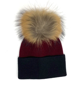 2 Tone Angora Knit Fur Pom Beanie - Burgundy w/ Black Trim