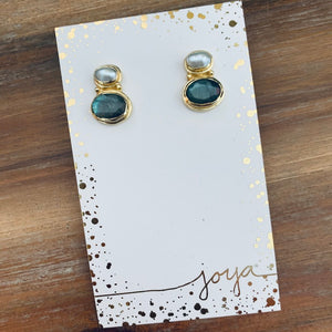 Pearl + Labradorite 18k Vermeil Stud Earrings