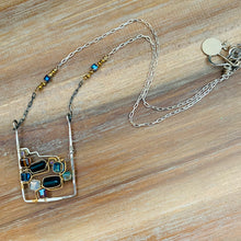Load image into Gallery viewer, Modern Art Wire Wrapped Sterling Necklace wtih Swarovski Crystals