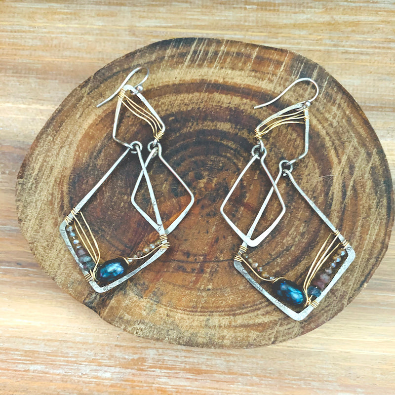 Labradorite + Moonstone + Pearl Chandelier Earrings