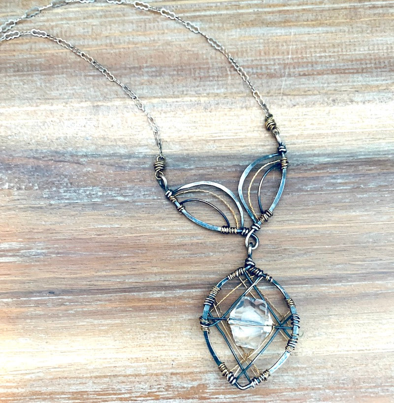 Quartz Crystal Stunning Wire Wrapped Necklace