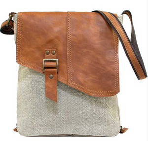 Ash Grey Jute & Leather Expandable Crossbody
