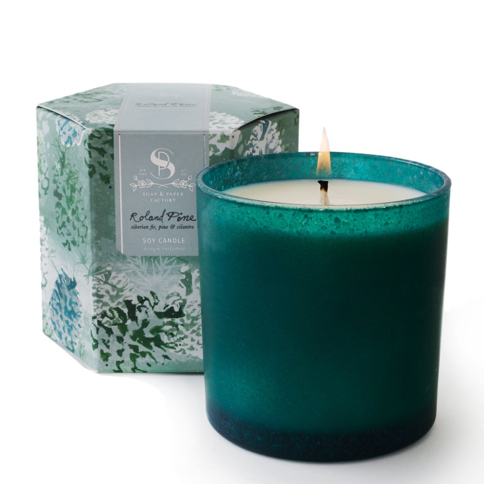 Roland Pine Artisan Candle in Decorative Glass