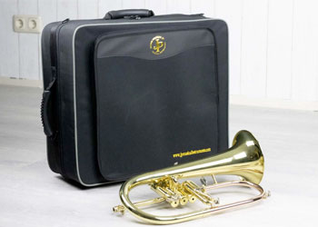 bugle with suitcase