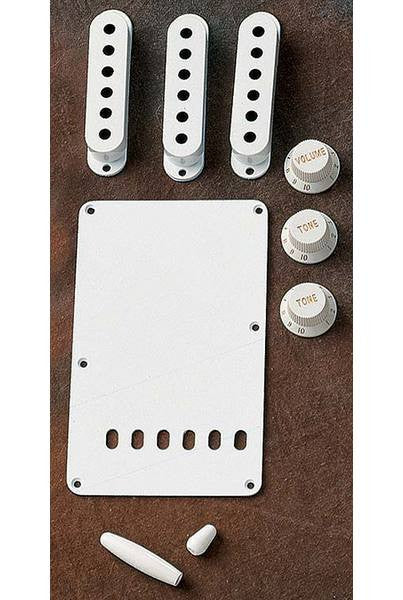 Stratocaster accessory kit - knobs, pickup covers, backplate: genuine Fender - white