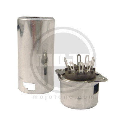Amp socket - tube socket - 9 Pin chassis mount socket w/shield mount & shield - grey