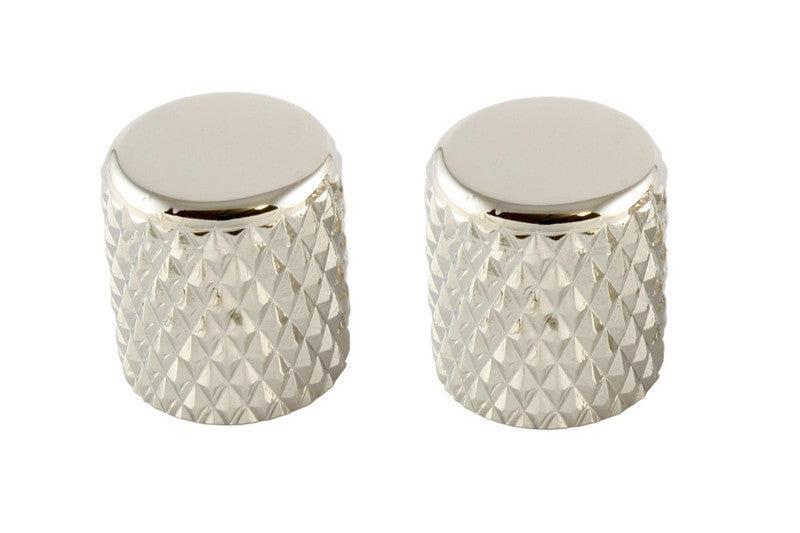 Knobs - metal - heavy knurl barrel knobs (2) - flat top w/set screw - fits USA solid shaft - 13/16 x 3/4 inch (20 x 19mm)