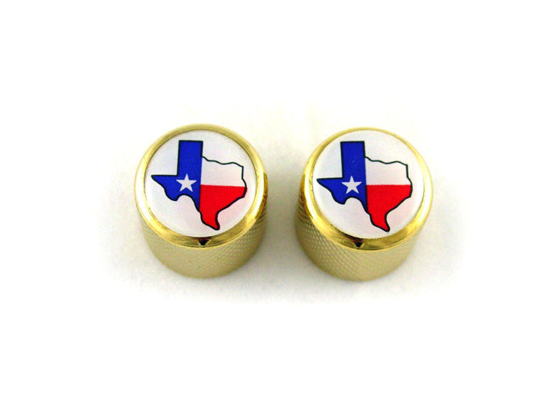 Knobs - metal dome knob w Texas flag  fits split shaft pots
