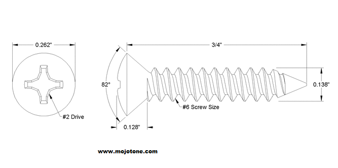Amp screws for mounting corners - countersunk - stainless steel (doz)