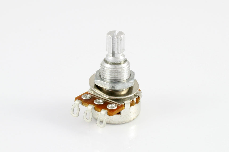 Potentiometer - 250K mini pot audio taper split knurled shaft w nut and washer