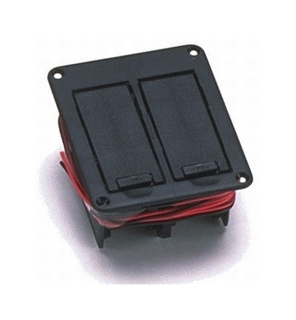 Battery compartment  18v holds 2  9-volt  edge uppermost