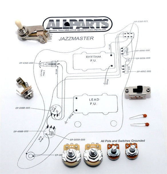 wiring kit for jazzmaster allparts uk rh allparts uk com jazzmaster wiring diagram no rhythm circuit fender jazzmaster wiring diagram