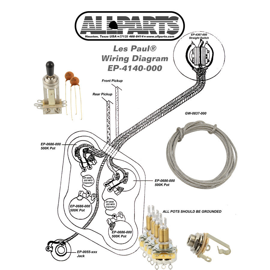 wiring kit for gibson les paul allparts uk rh allparts uk com Gibson Split Coil Pickup Wiring Gibson Les Paul Wiring