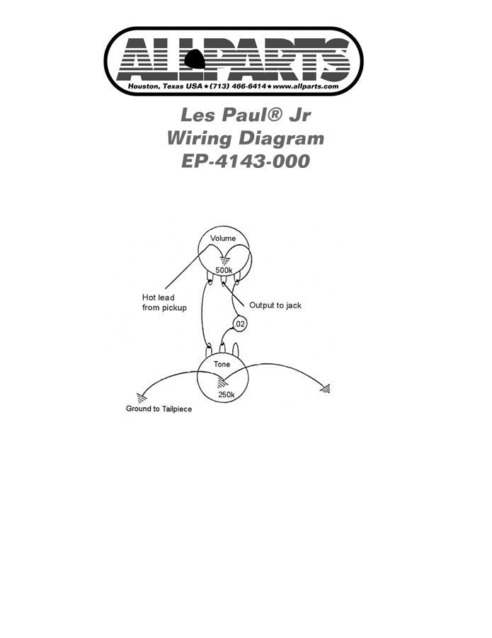 Wiring Kit for Gibson® Les Paul® / SG® Jr