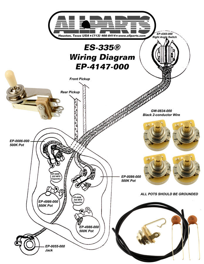 Wiring kit for 335  sc 1 st  Allparts UK : gibson es 335 wiring diagram - yogabreezes.com