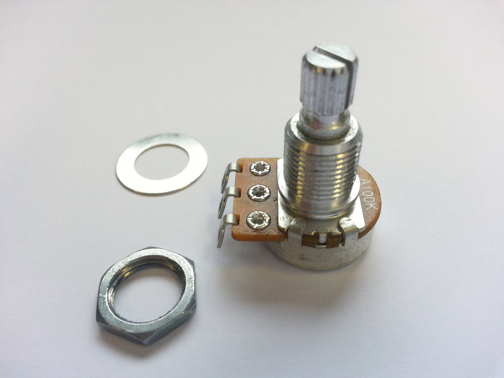 Potentiometer - 100K mini pot audio (log) taper split knurled shaft