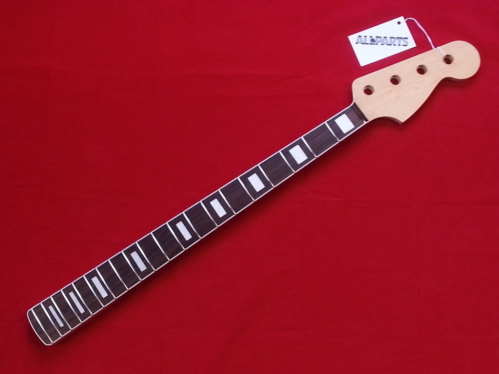 Bass neck - replacement neck for Jazz Bass® - rosewood board - w finish - w binding & block inlays