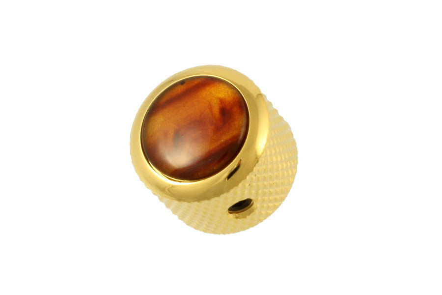 Dome metal knob w tortoise acrylic inlay