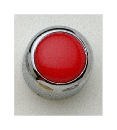Dome metal knob w red acrylic inlay