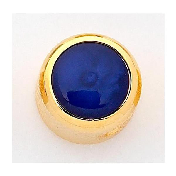 Dome metal knob w blue pearl acrylic inlay