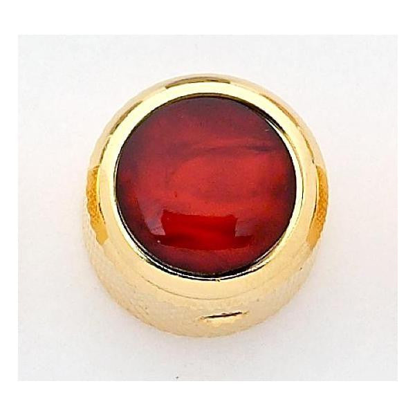 Dome metal knob w red pearl acrylic inlay