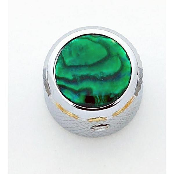 Dome metal knob w green abalone inlay