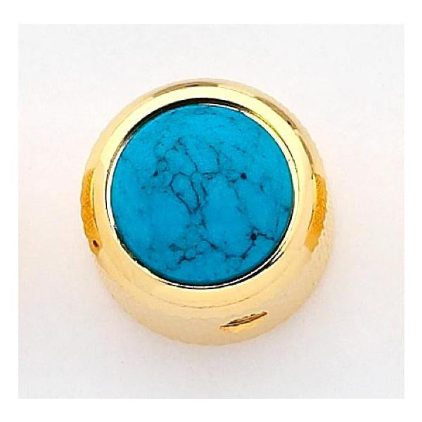 Dome metal knob w turquoise inlay