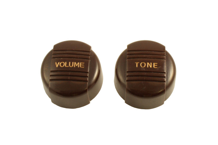 Knobs - radio knob set for Harmony - 1 volume -  1 tone -  fits import split shaft pots - brown with gold text