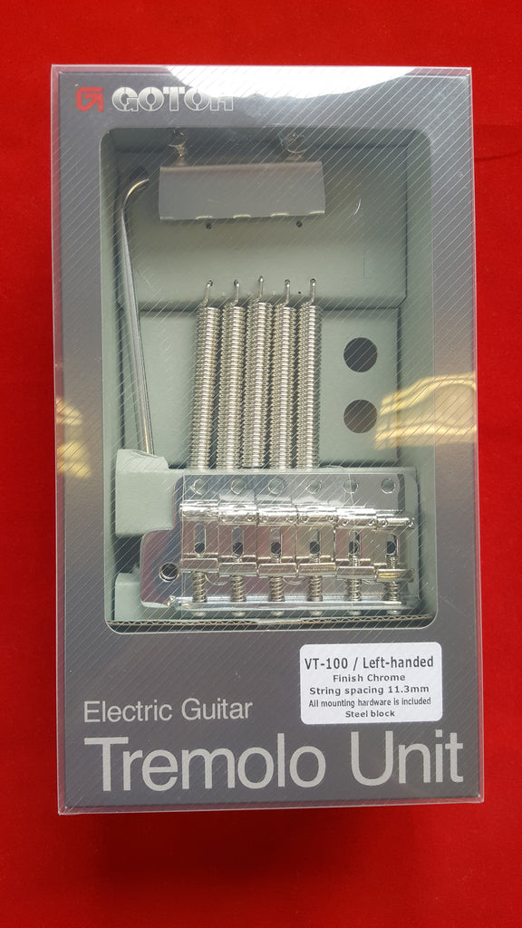 Guitar bridge - Gotoh® VT100 vintage style tremolo w short drilled steel block - left-handed