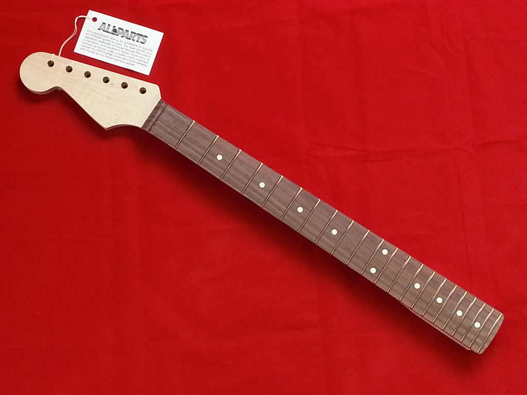 Guitar neck - replacement neck for Strat® - rosewood fingerboard - no finish - 22 fret - left-handed