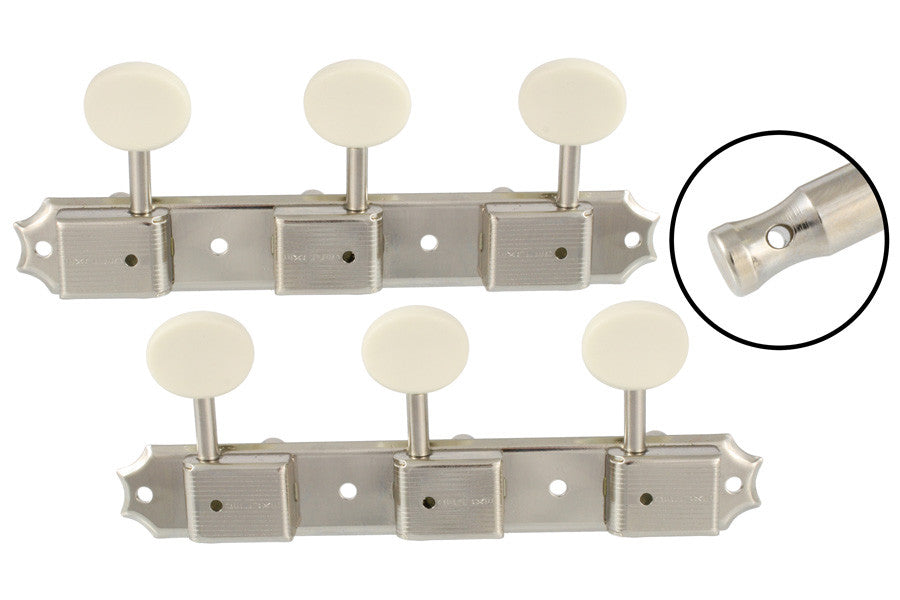 Tuning keys - vintage Deluxe style tuning keys 3x3 on a strip w off-white plastic buttons