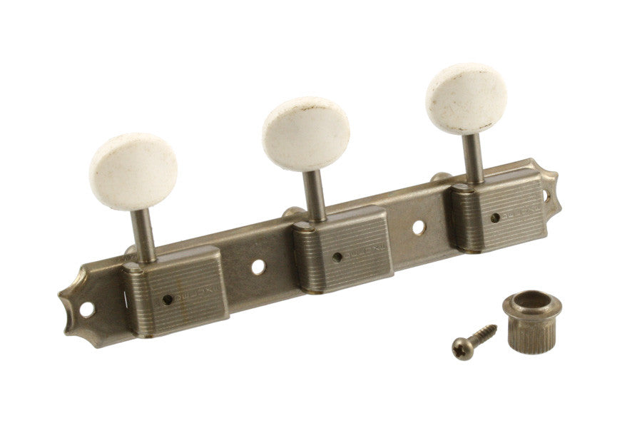 Tuning keys - vintage Deluxe style tuning keys 3x3 on a strip w off-white plastic buttons - aged nickel