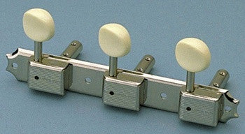 Tuning keys - vintage Deluxe style tuning keys 3x3 on a strip for slot head w off-white plastic buttons
