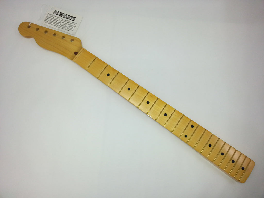 Guitar neck - replacement neck for Tele® - solid maple - w finish - 21 tall frets - 9-1/2 inch radius - left-handed