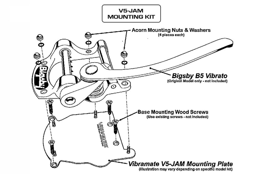 Vibramate V5-JAM adapts Bigsby B5 fits Jazzmaster/Jaguar® without permanent modification, stainless steel