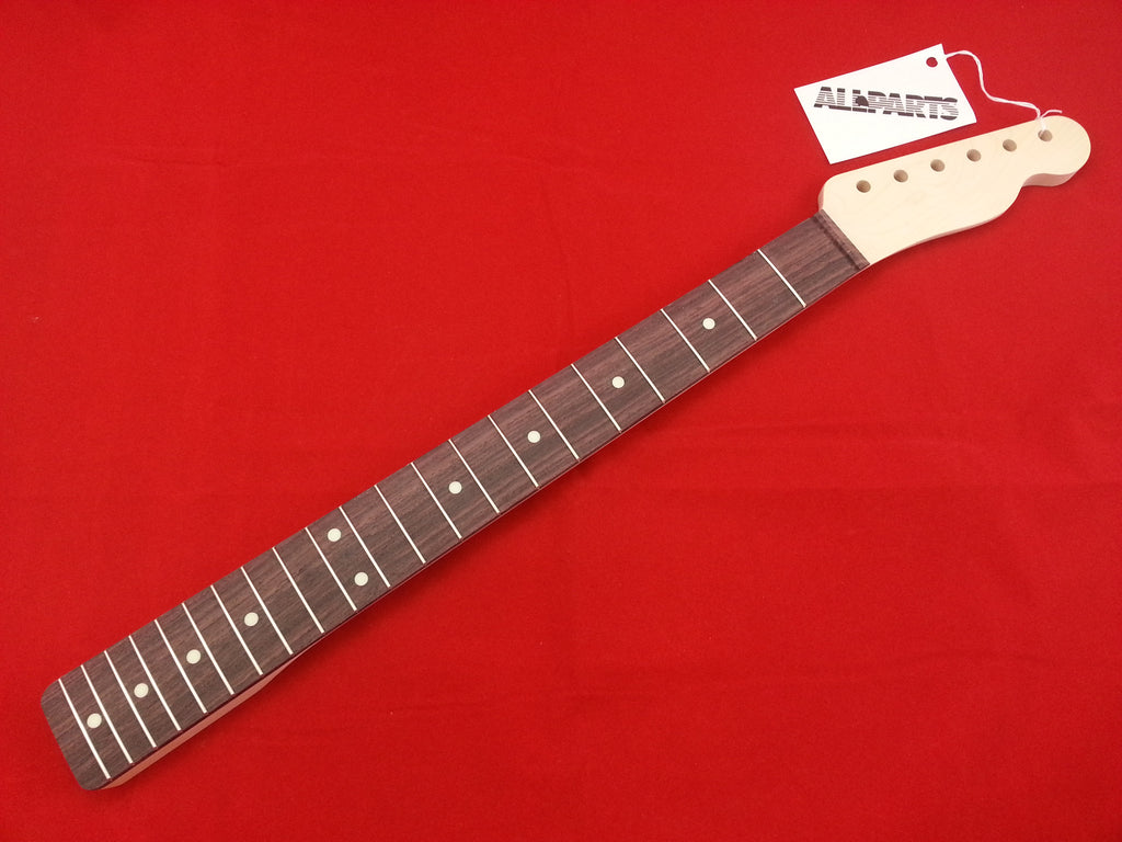 Guitar neck - replacement neck for Tele® - rosewood board - chunky - no finish - 21 frets, 9.5inch radius