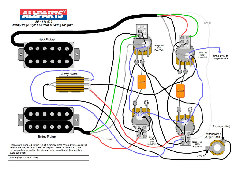 Gibson Les Paul Modern Wiring Diagram : Wiring kit jimmy page les paul style allparts uk